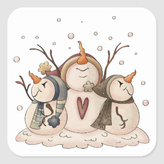 Snowman Snowflake Christmas Winter Country Square Sticker