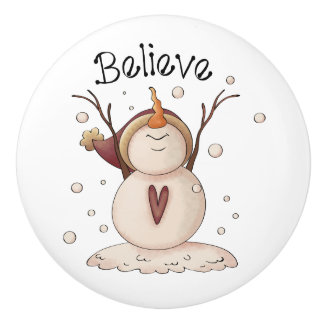 Snowman Snowflake Country Winter Primitive Ceramic Knob