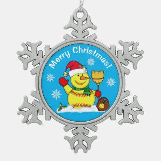 Snowman Snowflake Softball Christmas Ornaments