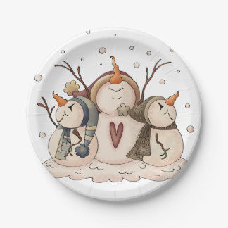 Snowman Snowflake Winter Country Primitive 7 Inch Paper Plate