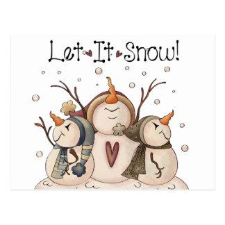 Snowman Snowflake Winter Country Primitive Postcard