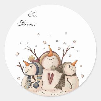 Snowman Snowflake Winter Country Primitive Round Sticker