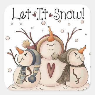 Snowman Snowflake Winter Country Primitive Square Sticker