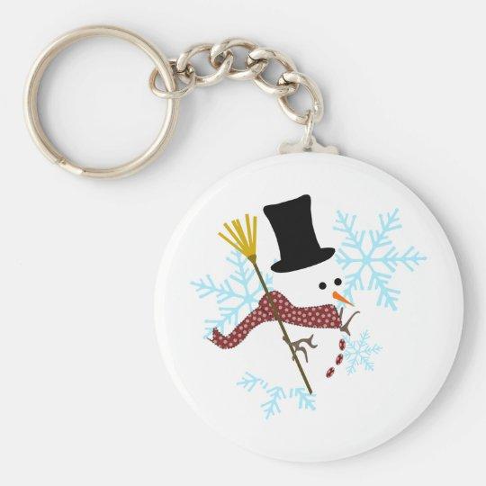 snowman snowflakes basic round button key ring