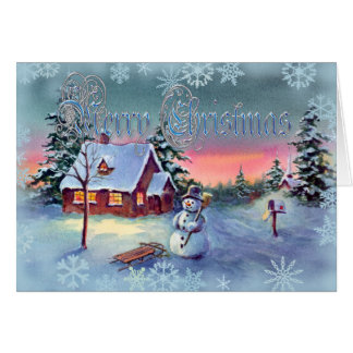SNOWMAN SNOWFLAKES by SHARON SHARPE Greeting Cards
