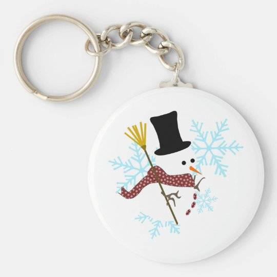 snowman snowflakes key ring