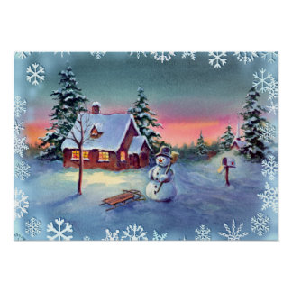SNOWMAN, SNOWFLAKES & SLED by SHARON SHARPE Poster