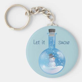 Snowman snowglobe flask key ring