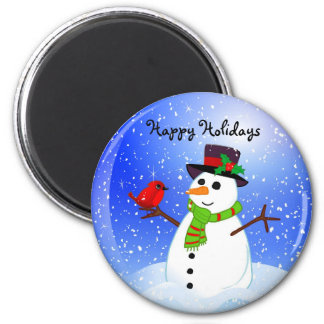 Snowman Snowglobe - Happy Holidays Magnet