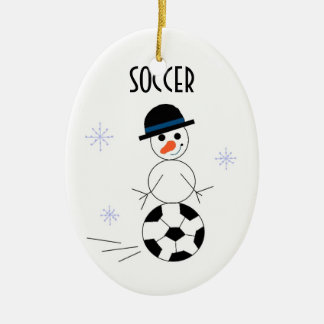 Snowman Soccer Player Christmas Ornament