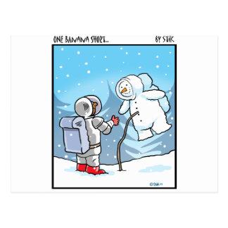 Snowman Spaceman Post Card
