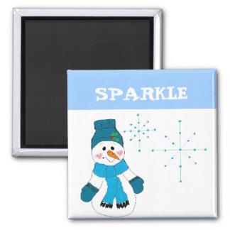 Snowman - Sparkle Square Magnet