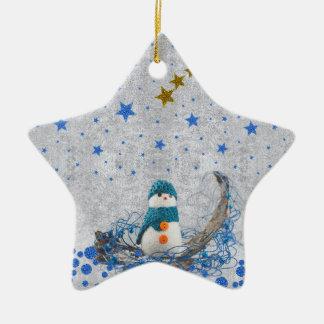Snowman, sparkly blue stars, gold stars christmas ornament