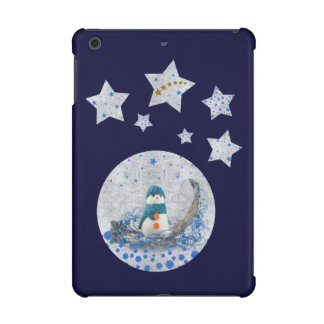 Snowman, sparkly blue stars, gold stars on blue