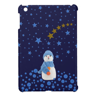 Snowman, sparkly blue stars on blue cover for the iPad mini