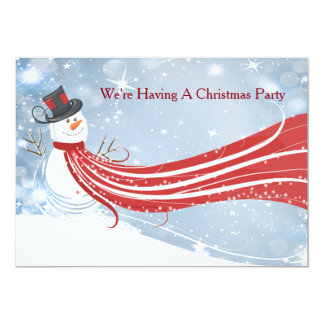 Snowman Sparkly Christmas Party Invitation
