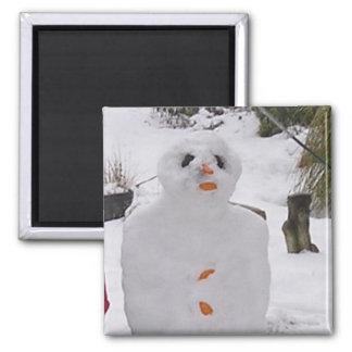 Snowman Square Magnet