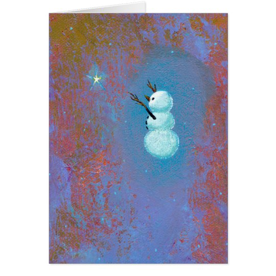 Snowman star belief unique Holiday Christmas art Card
