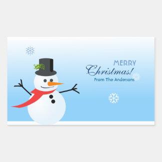 Snowman Rectangle Sticker