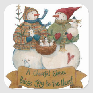 Snowman Sticker Cheerful Glance Joy to the Heart