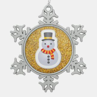 Snowman Sticker Design Happy Holidays Pewter Snowflake Decoration