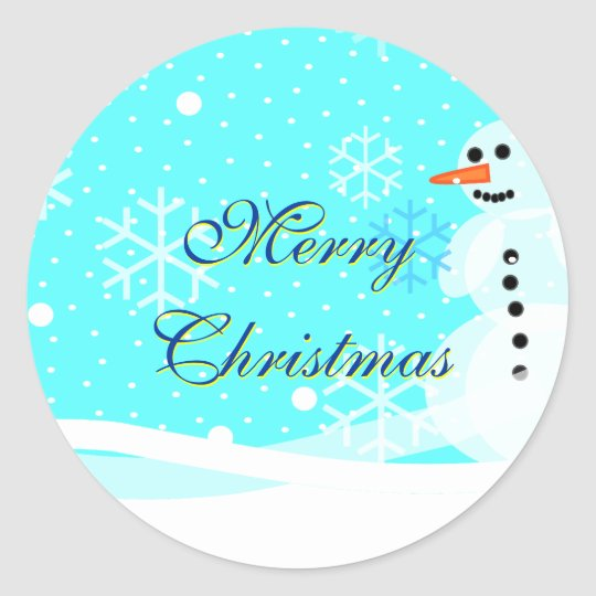 Snowman Sticker Envelope Seal Merry Christmas