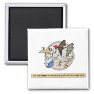 Snowman Stork Delivery Magnet
