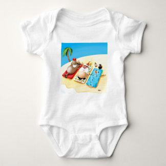 Snowman Sunbathing Baby Bodysuit