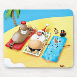 Snowman Sunbathing Mouse Pad