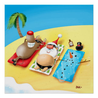 Snowman Sunbathing Poster