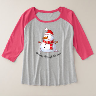 Snowman Themed Plus Size Raglan T-Shirt