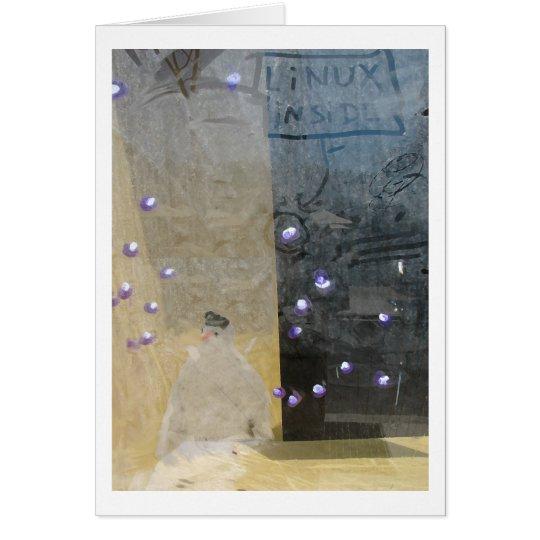 snowman through a window card