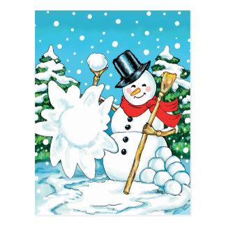 Snowman Throwing a Snowball Winter Fun Splat! Postcard