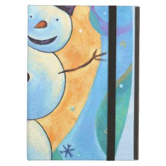 Snowman Tilting in Festive Winter Snow iPad Air Covers