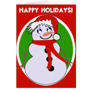 Snowman Toon Red Holiday! Card