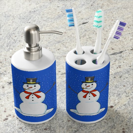 Snowman Toothbrush Holder and Soap Dispenser