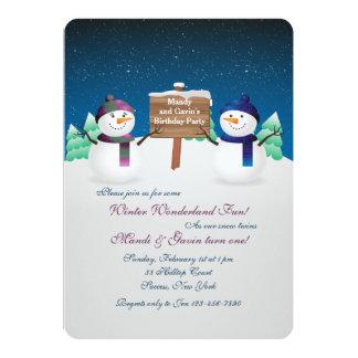 Snowman Twins Invitation