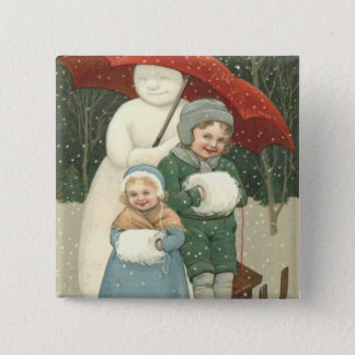 Snowman Umbrella Children Snow Winter 15 Cm Square Badge