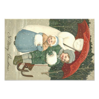 Snowman Umbrella Children Snow Winter Art Photo