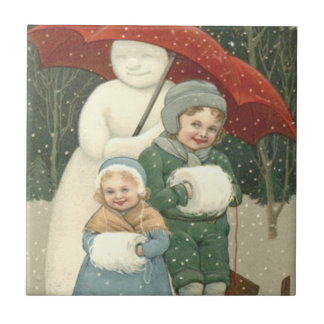 Snowman Umbrella Children Snow Winter Tile