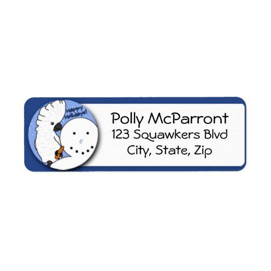 Snowman Umbrella Cockatoo Return Address Label