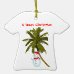 Snowman under Palm Texas Christmas ornament