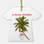 Snowman under Palm Tree Christmas ornament