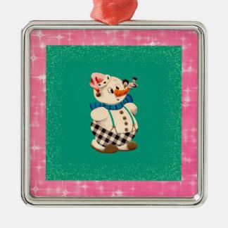 Snowman Vintage Christmas Silver-Colored Square Decoration