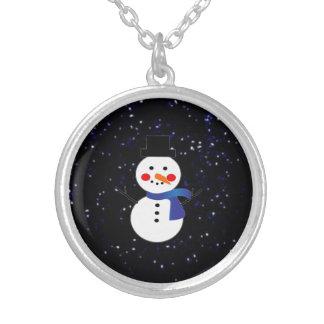 Snowman w/blue scarf necklace