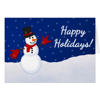 Snowman w/ I Love You ASL Handshape Christmas Card