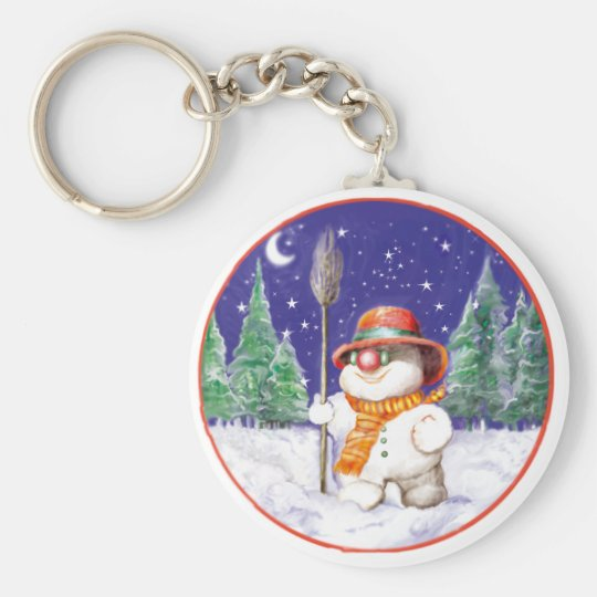 *Snowman walking in the night* Basic Round Button Key Ring