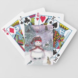 Snowman Watercolor art Bicycle Playing Cards