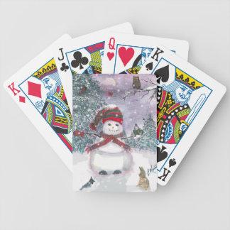 Snowman Watercolor art Poker Deck