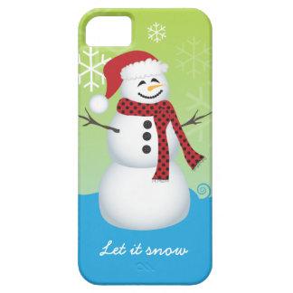 Snowman wearing Santa hat iPhone 5 Case